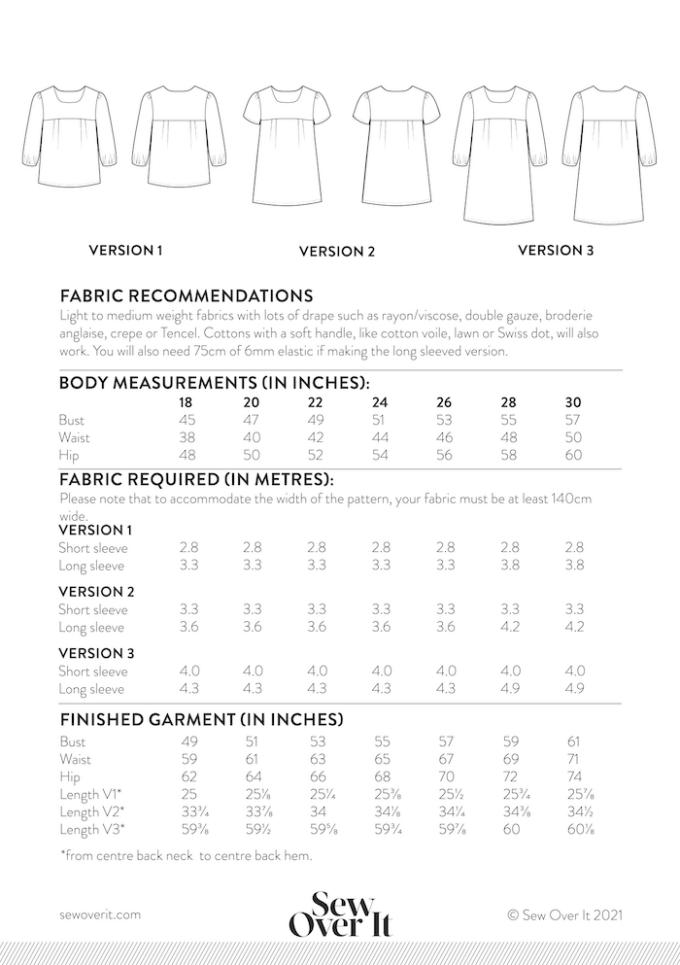 Frida Blouse Size Chart