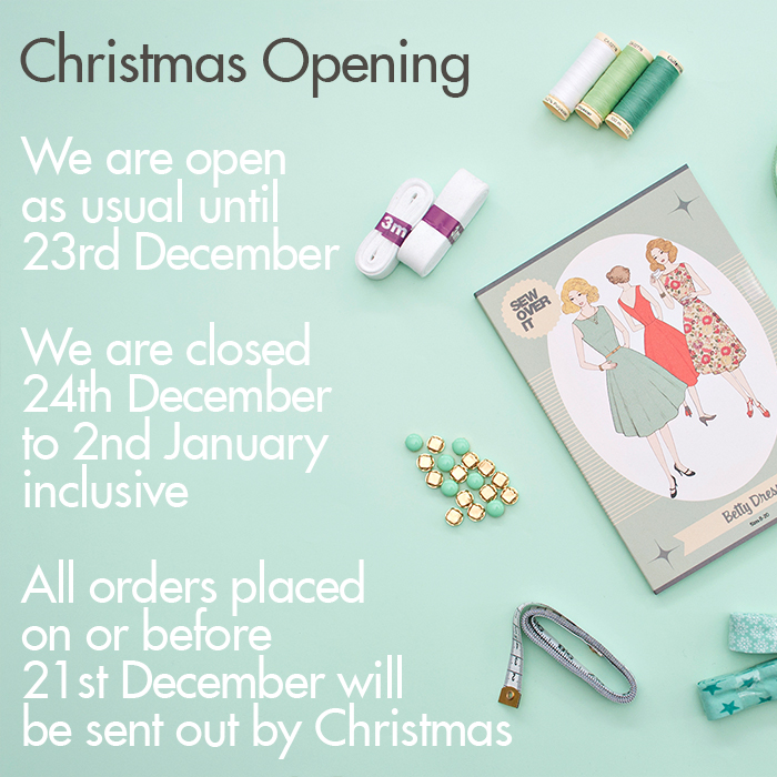 Christmas Opening Hours at Sew Over It's London Fabric Shop