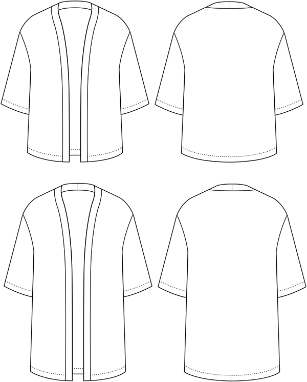 Sew Over It Kimono Jacket technical drawing