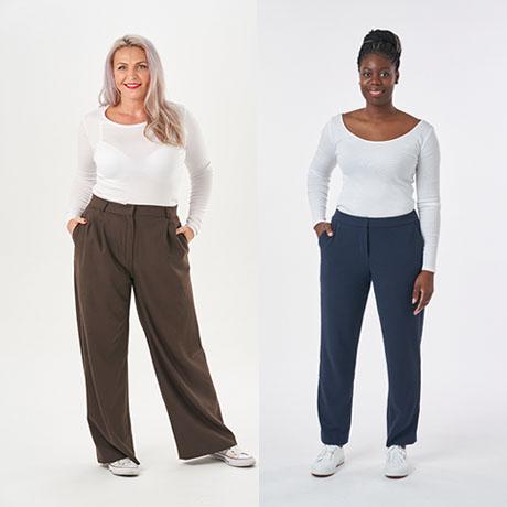 two model wearing trousers