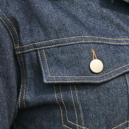 Topstitching on a denim jacket.