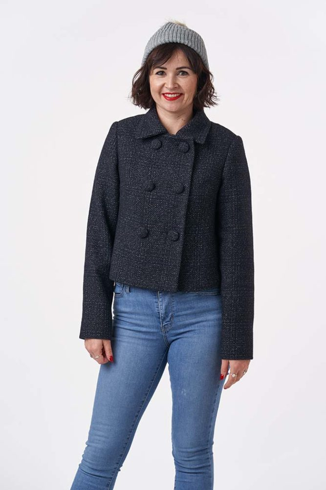 Lisa wearing the cropped version of the 1960s Coat Sewing Pattern - Sew Over It