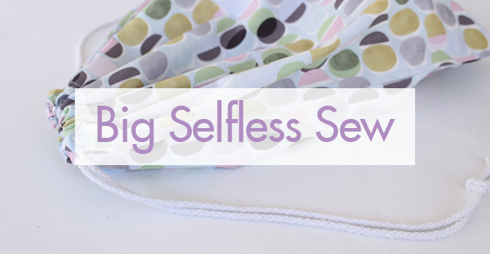 Spotty drawstring bag with the title Big Selfless Sew