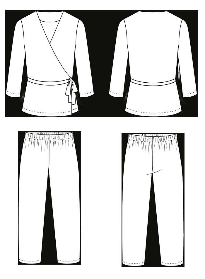 Illustration of the Luna Pyjamas Sewing Pattern
