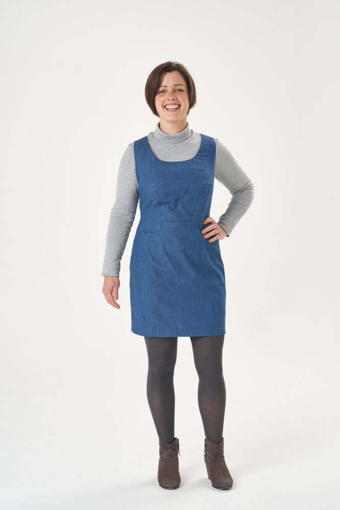 Becca wearing a fitted shift dress which she made by drafting her own pattern blocks in our Stitch School class