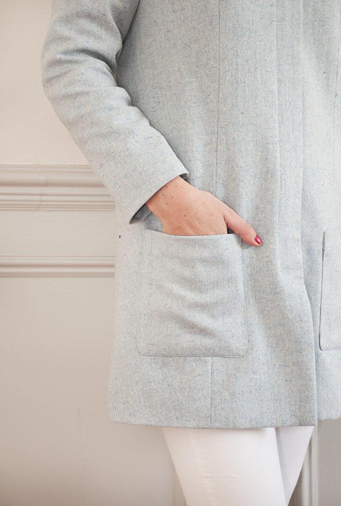 close up of coat pocket detail