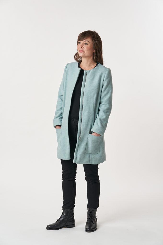 model wearing Chloe coat sewing pattern