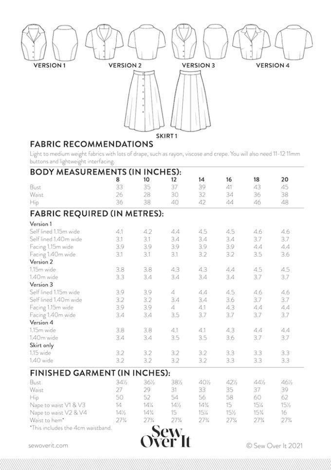 Kitty Dress Size Chart