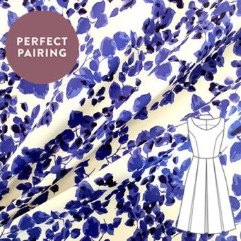 Sew Over It Online Shop - Stretch cotton - royal leaves navy