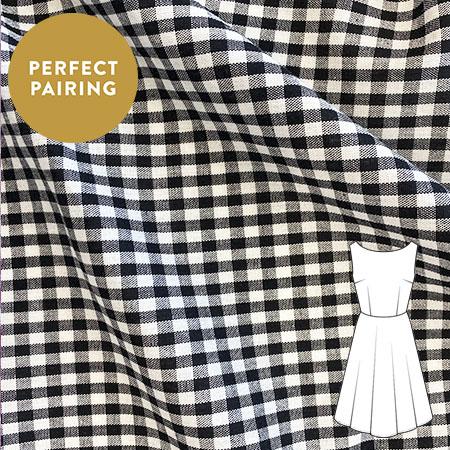 Black Gingham Woven Fabric