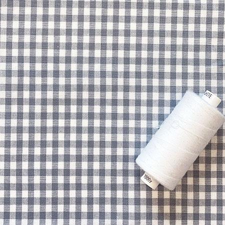 Grey Gingham Woven Fabric