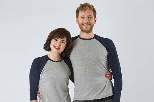 2 people wearing the Hebden T-Shirt