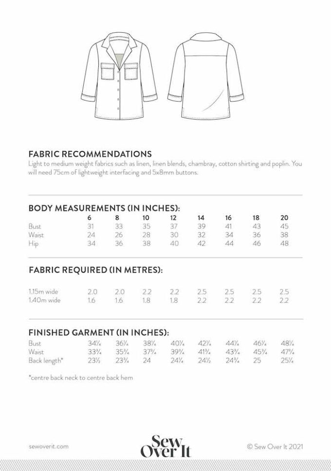 Sew Over It - Jodie Shirt size chart