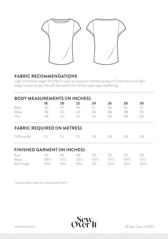 Esma T-shirt Add-on Size chart 18-30