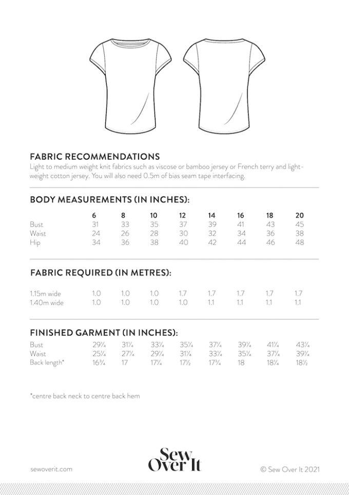 Esma T-shirt Add-on Size chart 6-20