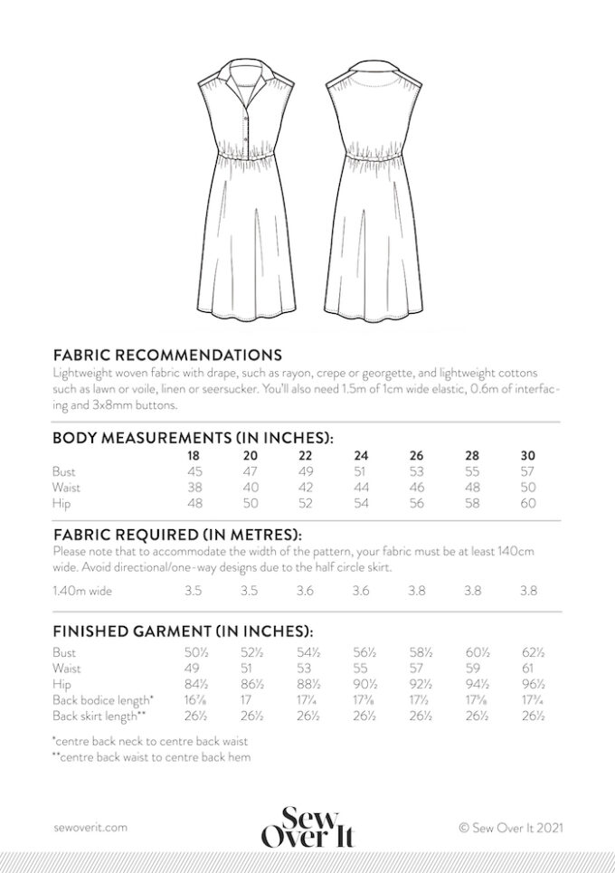 Penny Dress Size Chart