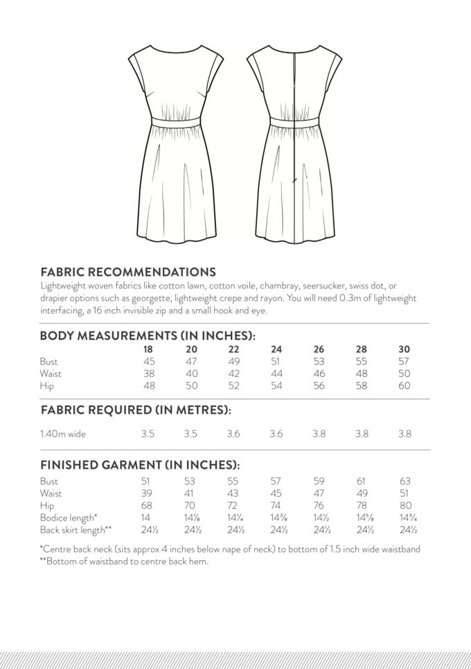 Marguerite Dress 18-30 Size Chart