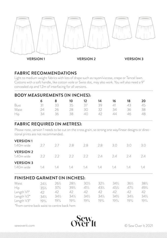 Niamh Skirt Size Chart 18-30