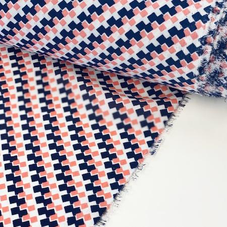 Geometric print fabric on a roll