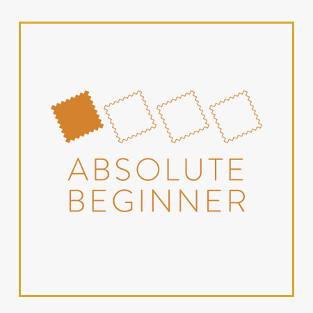Graphic showing absolute beginner sewing level